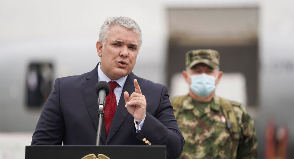 Colombia's President Ivan Duque speaks after the arrival of a shipment of Johnson & Johnson vaccines against the coronavirus disease (COVID-19), in Bogota, Colombia July 1, 2021.