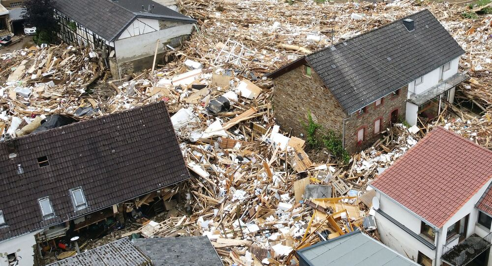 A general view of the flood-affected area following heavy rainfalls in Schuld, Germany, on July 15, 2021.