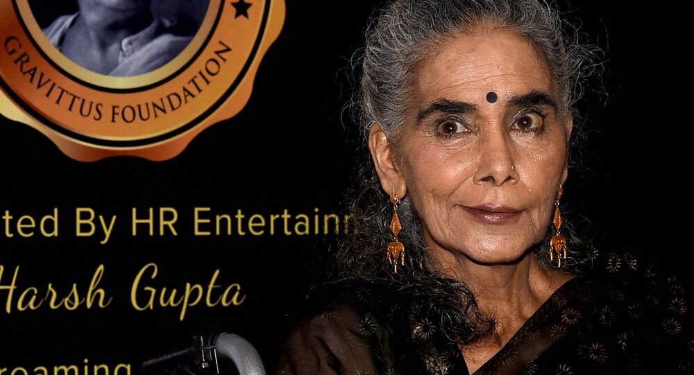 Indian theatre, film and television actress Surekha Sikri attends the Dadasaheb Phalke Excellence Awards 2019 in Mumbai on 20 April 2019.