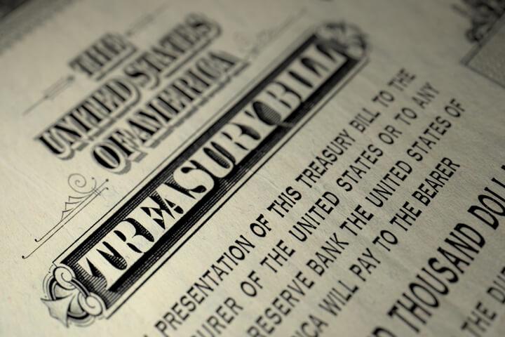 View of a $10,000 U.S. Treasure Bill