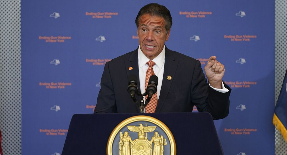 New York Governor Andrew Cuomo speaks in New York, Tuesday, 6 July 2021