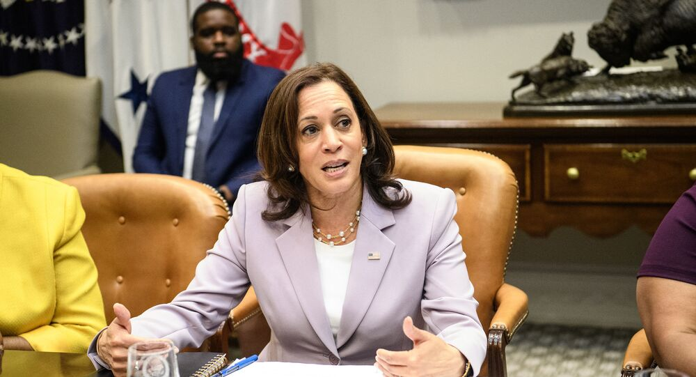 US Vice President Kamala Harris speaks during a meeting with  Black women leaders to discuss voting rights at the White House in Washington, DC, on July 16, 2021