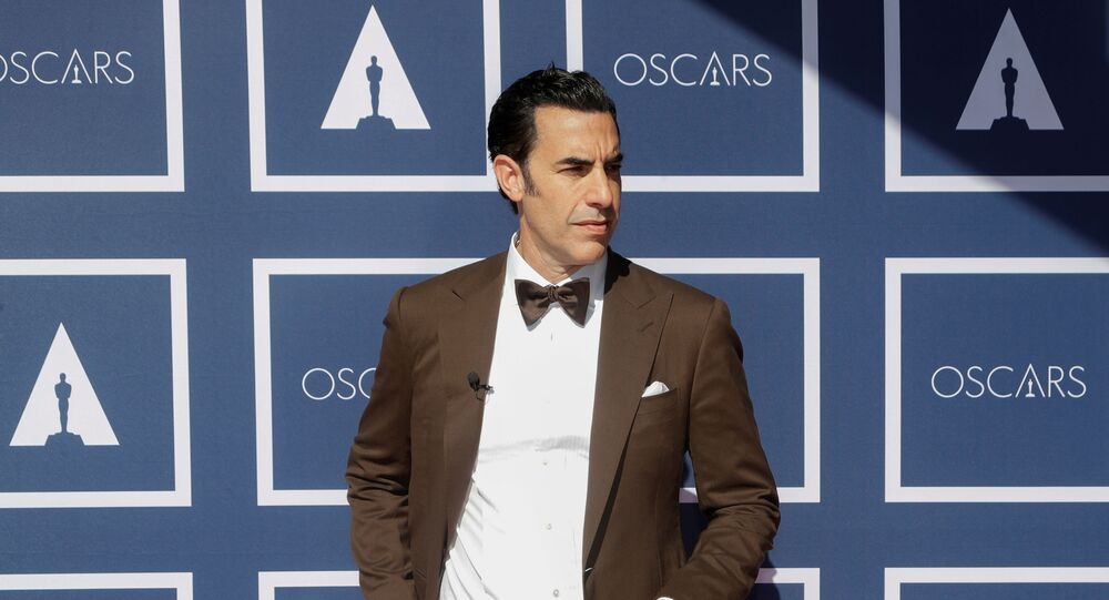 Sacha Baron Cohen arrives to attend a screening of the Oscars, in Sydney, Australia, April 26, 2021