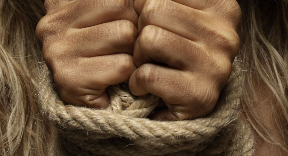 Woman hands tied rope