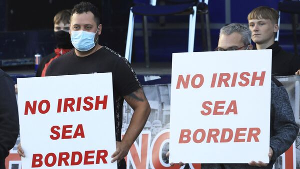 Loyalists opposed to the Northern Ireland Protocol protest in Newtownards town centre, Northern Ireland, Friday, June 18, 2021. - Sputnik International