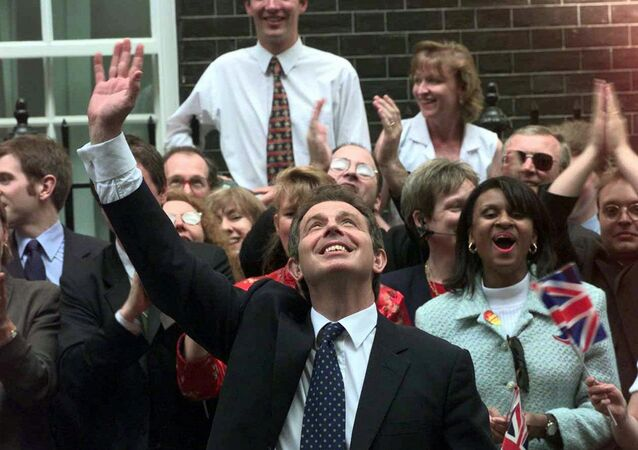 Tony Blair arrives at 10 Downing Street after his 1997 election victory