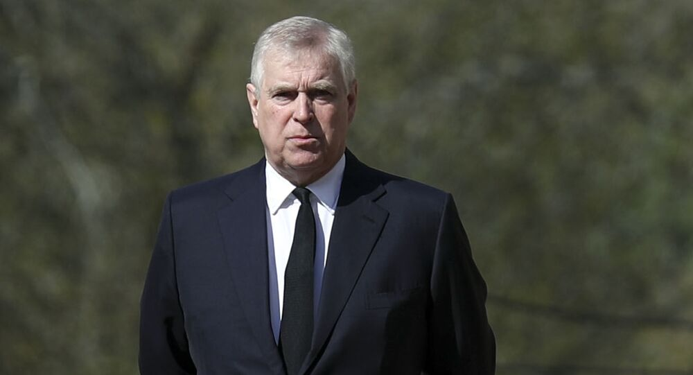Britain's Prince Andrew attends the Sunday service at the Royal Chapel of All Saints at Royal Lodge, Windsor, following the announcement of Prince Philip, in England, Sunday, April 11, 2021