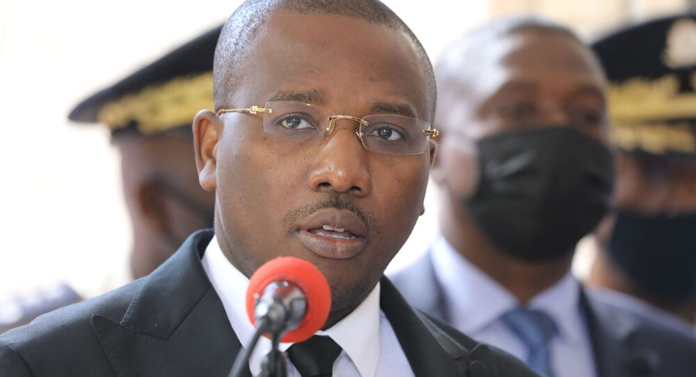 Haitian Interim Prime Minister Claude Joseph speaks during a press conference  at Haitian Interim Prime Minister Claude Joseph's residence on July 16, 2021, in Port-au-Prince.