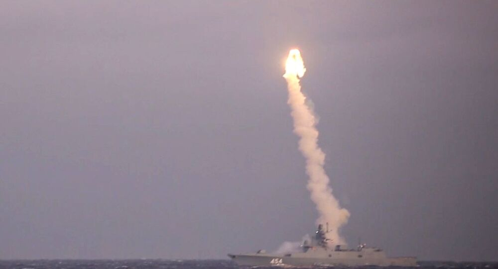 Test firing of a Zircon hypersonic cruise missile from the Admiral of the Soviet Union Fleet Gorshkov frigate from the White Sea at a coastal target located at the Chizha training ground in the Arkhangelsk Region.