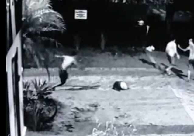 A screenshot from the surveillance video showing the prisoners' escape from jail in Brazil on July 18, 2021.