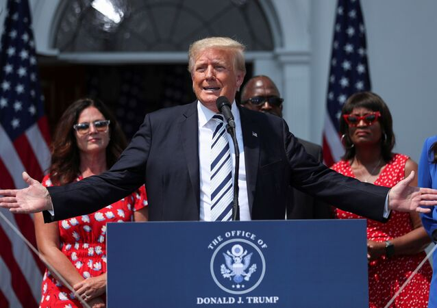 Former U.S. President Donald Trump speaks to media at his golf club in Bedminster, New Jersey, U.S., July 7, 2021.