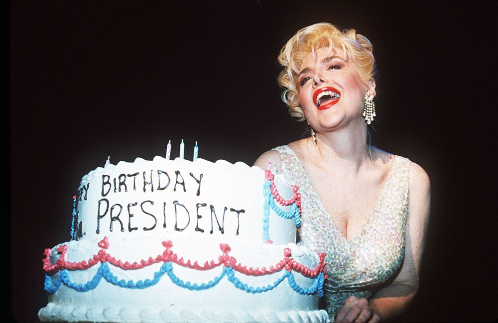 Gennifer Flowers, the former squeeze of ex-US president, Bill Clinton, in New York on Tuesday, 16 August 1994, is dressed to look like Marilyn Monroe as she recreates the Happy birthday Mr President moment the actress put on for JFK.