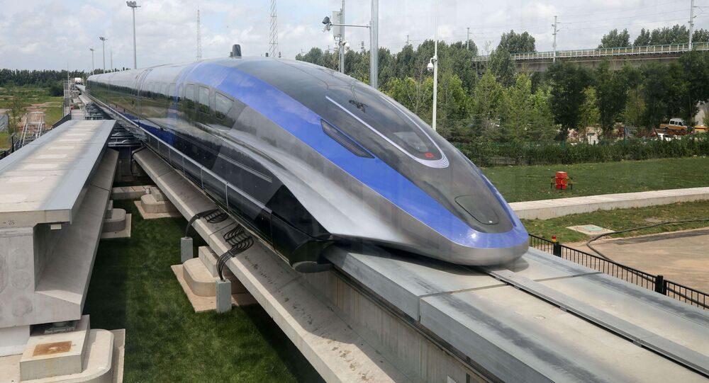 A high-speed maglev train, capable of a top speed of 600 kph, is pictured in Qingdao, Shandong province, China July 20, 2021
