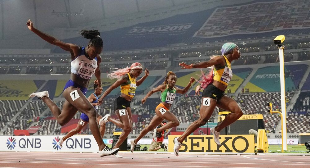 Shelly-Ann Fraser-Pryce won the 100m in Doha in 2019 but she will be pushed hard by Dina Asher-Smith (far left)