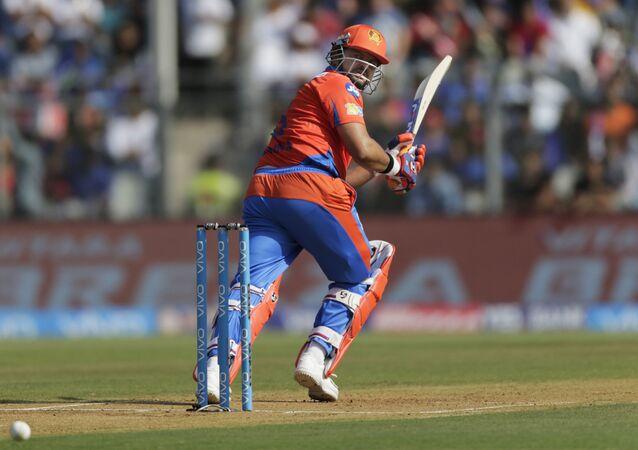 Gujarat Lions batsman Suresh Raina plays a shot during their Indian Premier League (IPL) cricket match against Mumbai Indians in Mumbai, India, Sunday, April 16, 2017