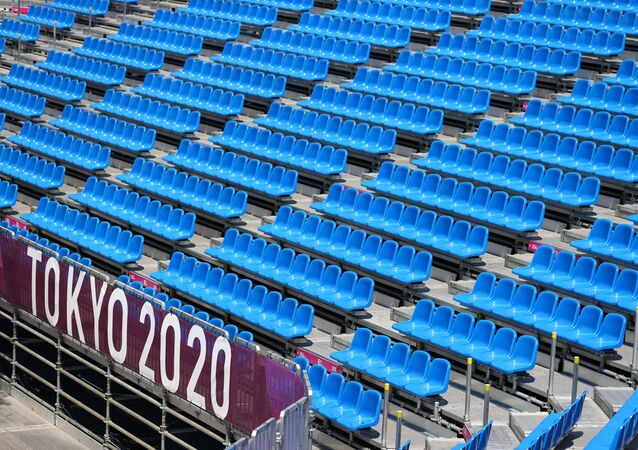 Tokyo, Japan - July 21, 2021 Empty seats are seen during training