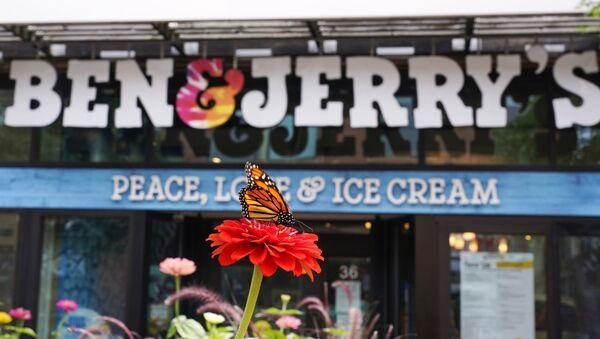 A Monarch butterfly lands on a flower outside the Ben & Jerry's Ice Cream shop, Tuesday, July 20, 2021, in Burlington, Vt. - Sputnik International