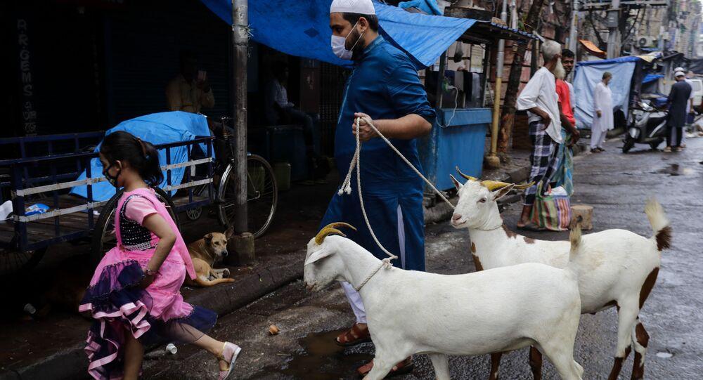 A Muslim walks with goats for sacrifice during Eid al-Adha festival in Kolkata, India, Wednesday, July 21, 2021