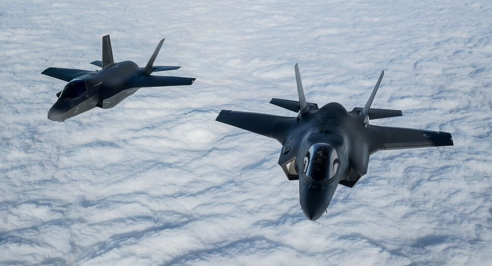 A pair of RAF F-35B Lightning fighter jets flies over The English Channel during the Point Blank exercise after taking off from RAF Mildenhall, Britain, November 27, 2018