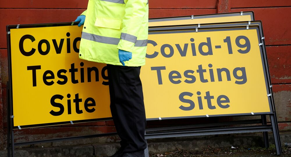 FILE PHOTO: Mobile testing centre during the outbreak of the coronavirus disease (COVID-19) in the Moston area of Manchester on 17 February 2021.