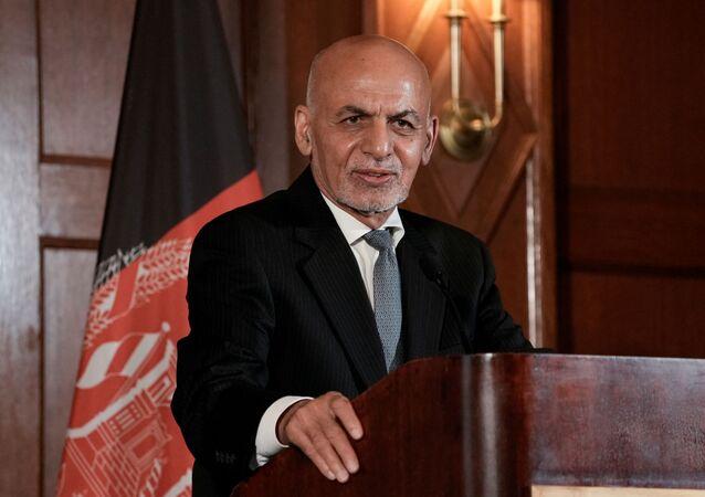 Afghanistan's President Ashraf Ghani speaks during a news conference following his meeting with U.S. President Joe Biden, at the Willard Hotel in Washington, D.C., U.S., June 25, 2021
