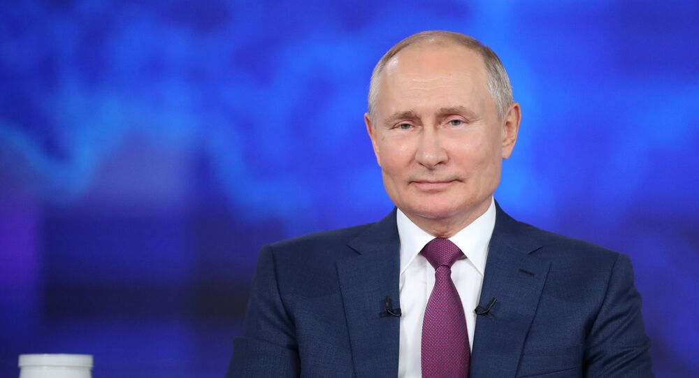 Russian President Vladimir Putin takes part in an annual nationwide televised phone-in show in Moscow, Russia June 30, 2021.