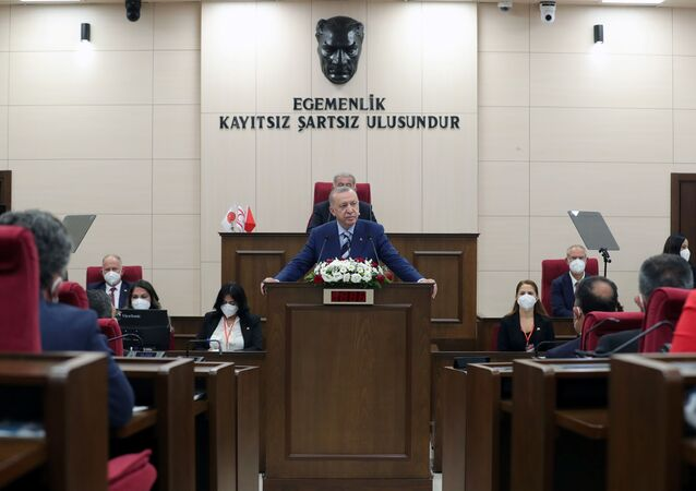 Turkish President Tayyip Erdogan addresses the members of the parliament of Turkish Republic of Northern Cyprus, a breakway state recognized only by Turkey, in northern Nicosia, Cyprus July 19, 2021.
