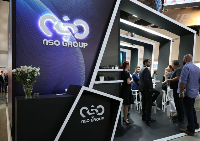 Israeli cyber firm NSO Group's exhibition stand is seen at ISDEF 2019, an international defence and homeland security expo, in Tel Aviv, Israel June 4, 2019. Picture taken June 4, 2019.