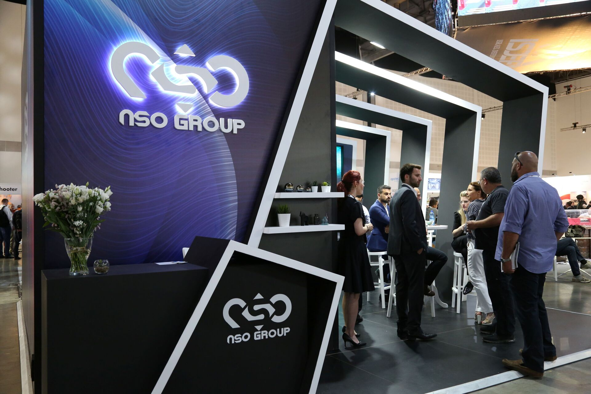 Israeli cyber firm NSO Group's exhibition stand is seen at ISDEF 2019, an international defence and homeland security expo, in Tel Aviv, Israel June 4, 2019. Picture taken June 4, 2019. - Sputnik International, 1920, 07.09.2021