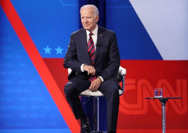 U.S. President Joe Biden participates in a town hall-style interview at Mount St. Joseph University in Cincinnati, Ohio, U.S. July 21, 2021.