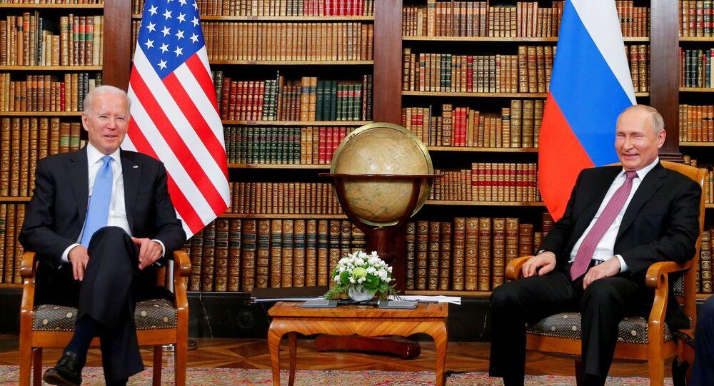 U.S. President Joe Biden and Russia's President Vladimir Putin meet for the U.S.-Russia summit at Villa La Grange in Geneva, Switzerland, June 16, 2021.