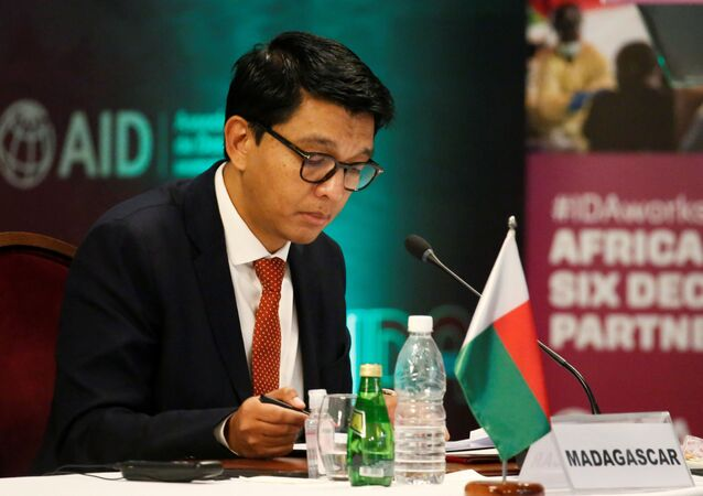 Madagascar's President Andry Rajoelina attends a meeting to discuss the 20th replenishment of the World Bank's International Development Association, in Abidjan, Ivory Coast July 15, 2021