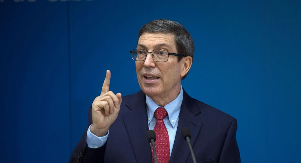 Cuba's Foreign Minister Bruno Rodriguez Parilla speaks during a news conference in Havana, Cuba, July 13, 2021.