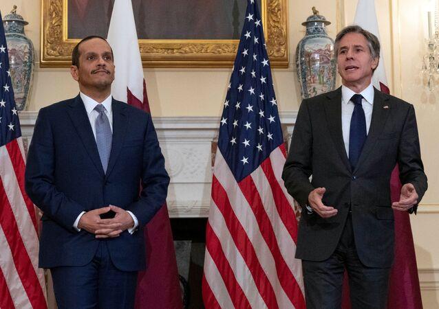 U.S. Secretary of State Antony Blinkin speaks next to  Qatar's Foreign Minister Mohammed bin Abdulrahman bin Jassim Al Thani at Department of State in Washington, D.C., U.S., July 22, 2021.
