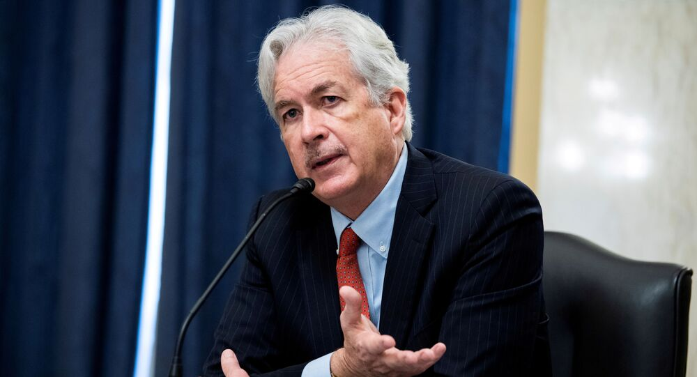 William Burns, nominee for Central Intelligence Agency (CIA) director, testifies during his Senate Intelligence Committee hearing on Capitol Hill in Washington, February 24, 2021.
