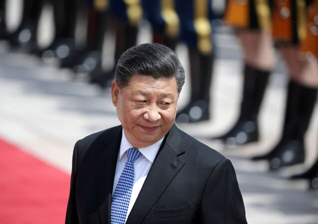 Chinese President Xi Jinping attends a welcoming ceremony for Greek President Prokopis Pavlopoulos outside the Great Hall of the People, in Beijing, China May 14, 2019