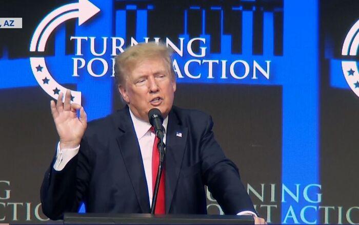 Trump speaking at  the Turning Point USA Student Action Summit in Phoenix, Arizona on July 24, 2021