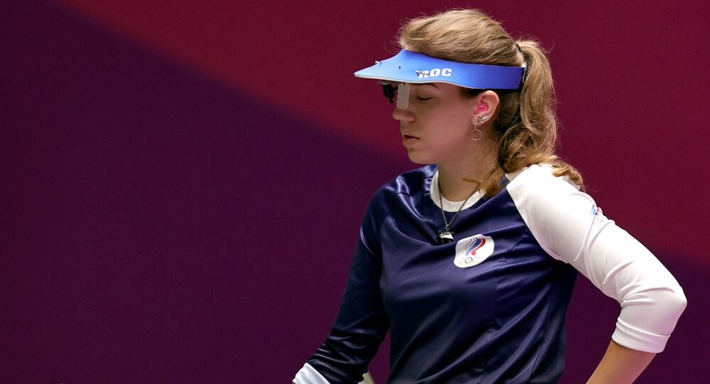 Vitalina Batsarashkina of the Russian Olympic Committee in action