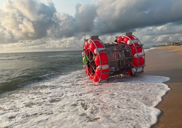 A bubble-like vessel washed ashore in Florida on July 24, 2021.