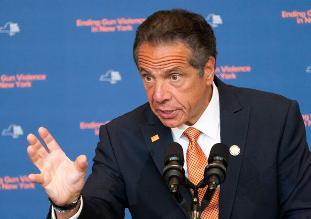 New York Governor Andrew Cuomo speaks during a news conference, to make an announcement that Gun Manufacturers are Liable for the harm their products cause, in New York City, New York, U.S., July 6, 2021