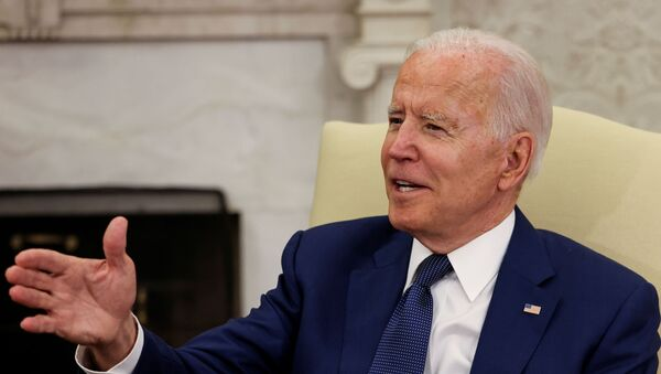 US President Joe Biden speaks during a bilateral meeting with Iraq's Prime Minister Mustafa Al-Kadhimi in the Oval Office at the White House in Washington, 26 July 2021 - Sputnik International