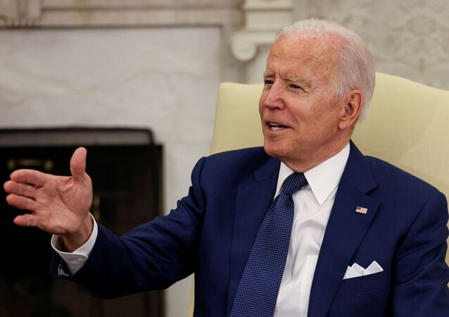 US President Joe Biden speaks during a bilateral meeting with Iraq's Prime Minister Mustafa Al-Kadhimi in the Oval Office at the White House in Washington, 26 July 2021