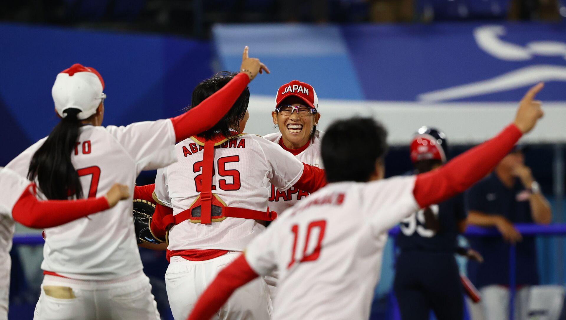 Yukiko Ueno of Japan and team mates celebrate winning the game. Tokyo 2020 Olympics - Softball - Women - Finals - Japan v United States. 27 July 2021 - Sputnik International, 1920, 27.07.2021