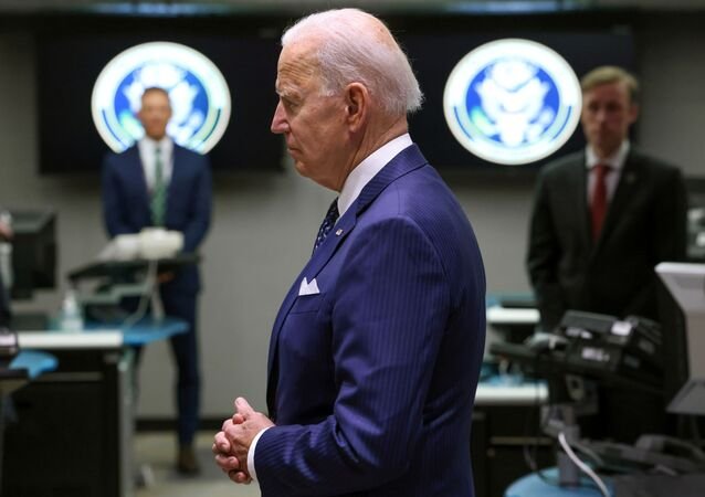 U.S. President Joe Biden tours the National Counterterrorism Center Watch Floor during a visit to the Office of the Director of National Intelligence in nearby McLean, Virginia outside Washington, U.S., July 27, 2021
