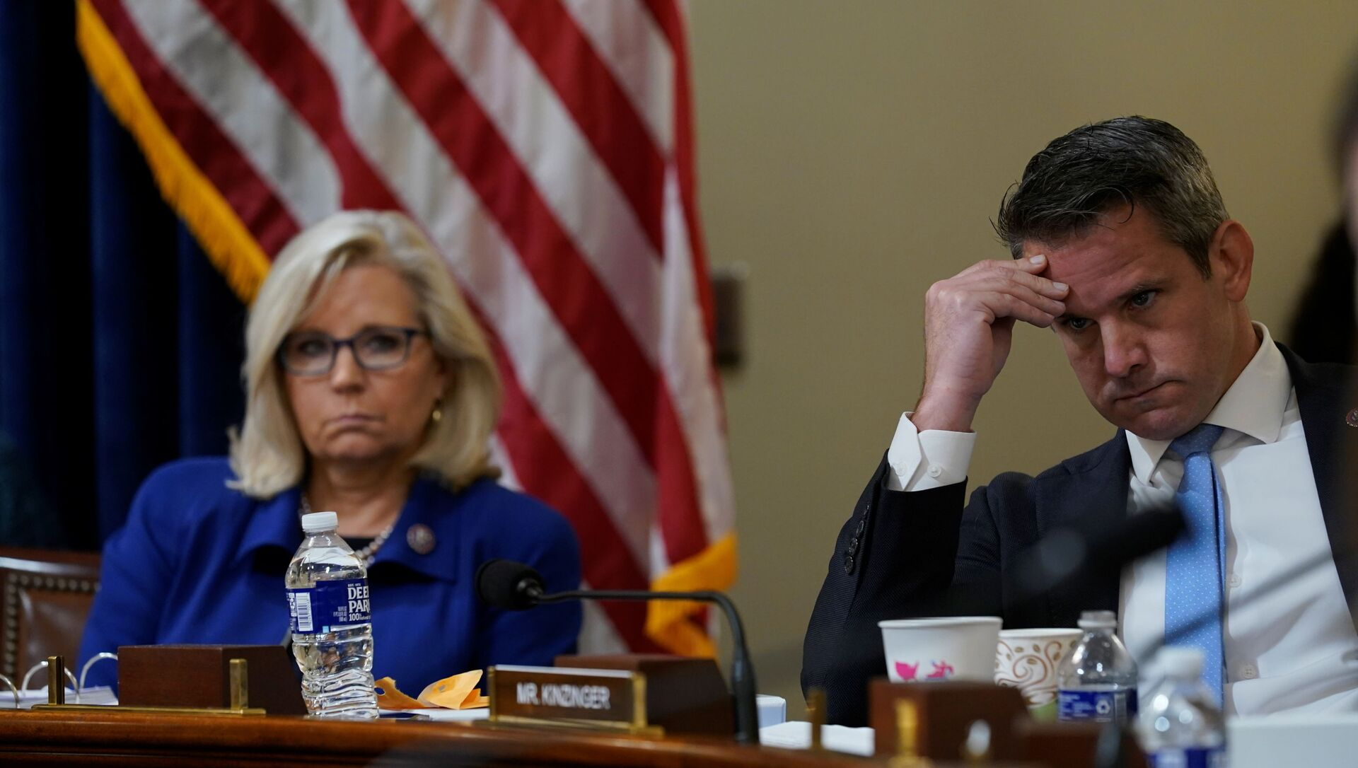 U.S. Rep. Liz Cheney, R-Wyo., and Rep. Adam Kinzinger, R-Ill., listen as Rep. Elaine Luria, D-Va., speaks during the House select committee hearing on the Jan. 6 attack on Capitol Hill in Washington, U.S., July 27, 2021 - Sputnik International, 1920, 28.07.2021