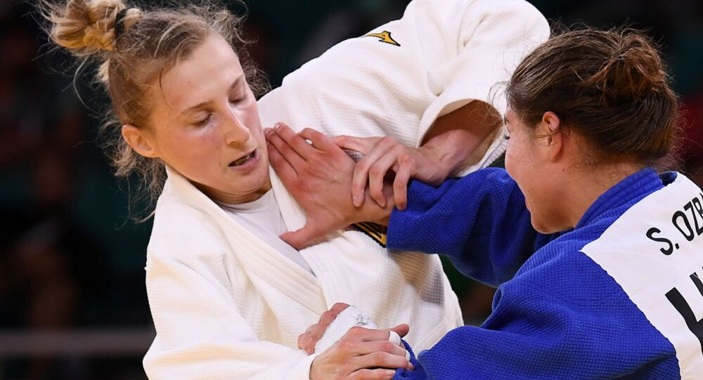 Martyna Trajdos of Germany in action against Szofi Ozbas of Hungary