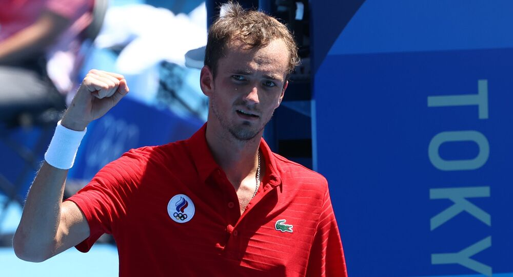 Tokyo 2020 Olympics - Tennis - Men's Singles - Round 3 - Ariake Tennis Park - Tokyo, Japan - July 28, 2021. Daniil Medvedev of the Russian Olympic Committee celebrates after winning his third round match against Fabio Fognini of Italy
