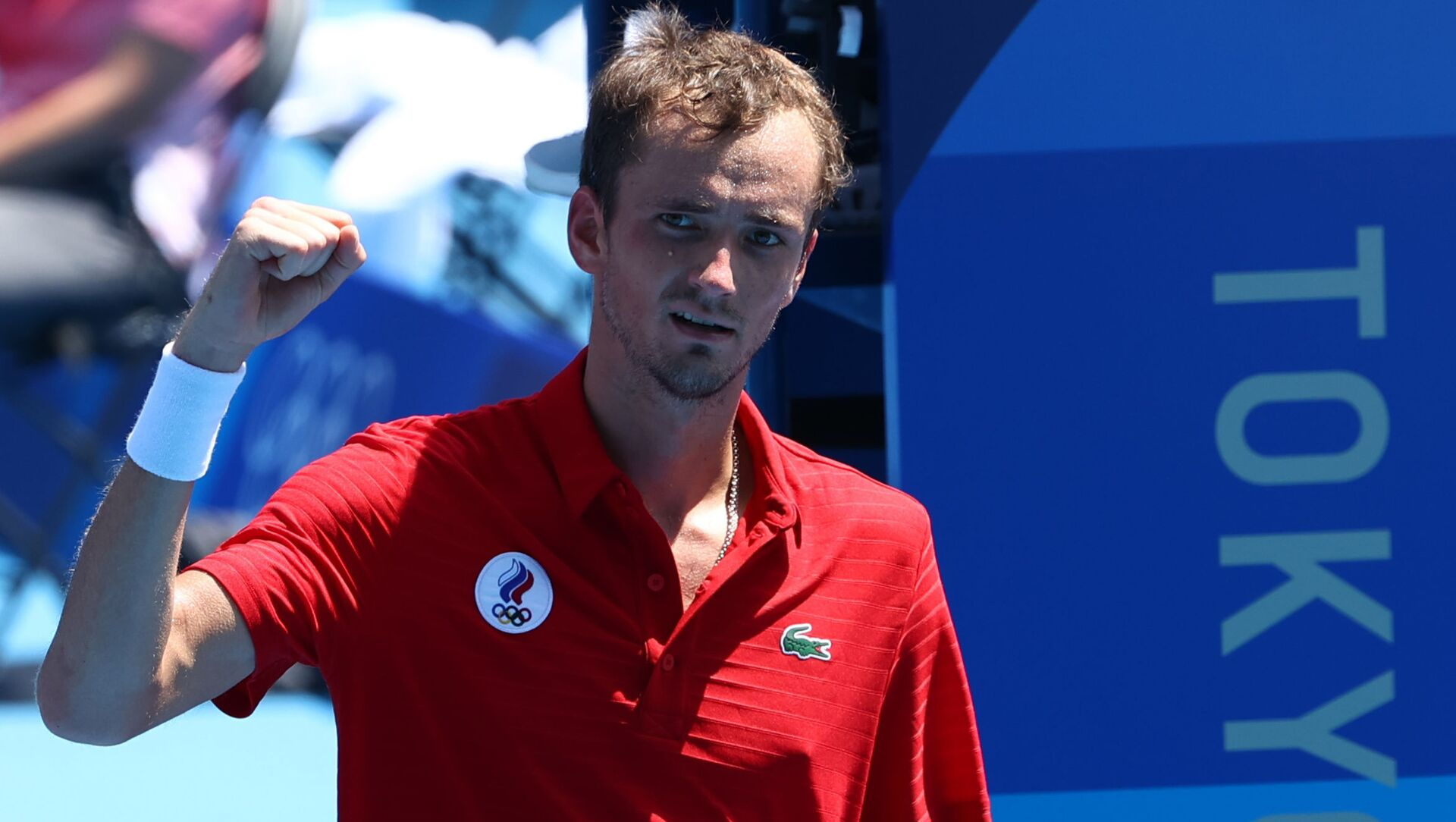 Tokyo 2020 Olympics - Tennis - Men's Singles - Round 3 - Ariake Tennis Park - Tokyo, Japan - July 28, 2021. Daniil Medvedev of the Russian Olympic Committee celebrates after winning his third round match against Fabio Fognini of Italy  - Sputnik International, 1920, 28.07.2021