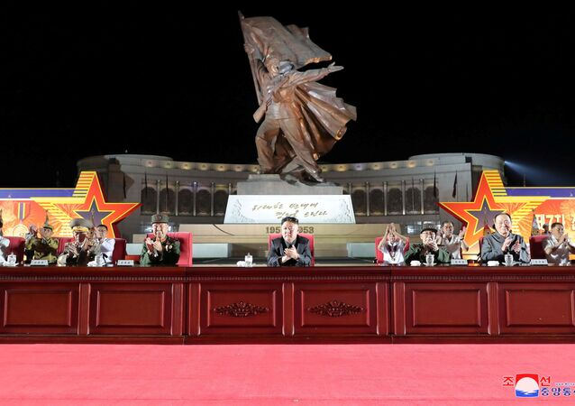 North Korean leader Kim Jong Un attends a ceremony at the Victorious Fatherland Liberation War Museum to mark the 68th anniversary of the Korean armistice in Pyongyang, North Korea, in this photo supplied by North Korea's Korean Central News Agency (KCNA) on July 27, 2021