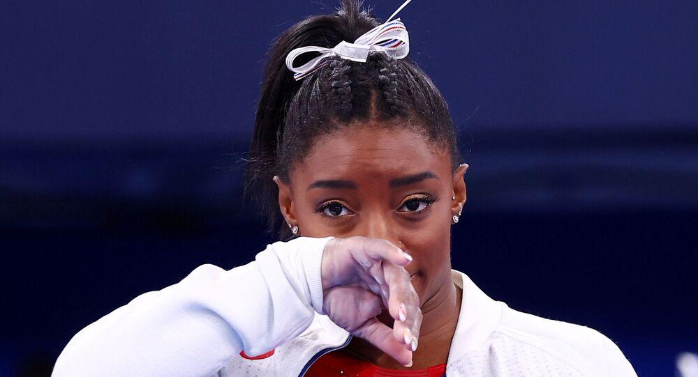 Tokyo 2020 Olympics - Gymnastics - Artistic - Women's Team - Final - Ariake Gymnastics Centre, Tokyo, Japan - July 27, 2021. Simone Biles of the United States during the Women's Team Final